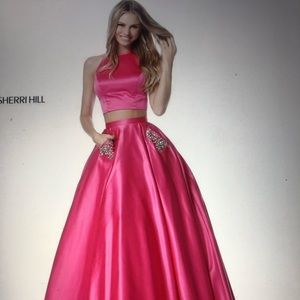 Two piece sherri hill hot pink dress💖
